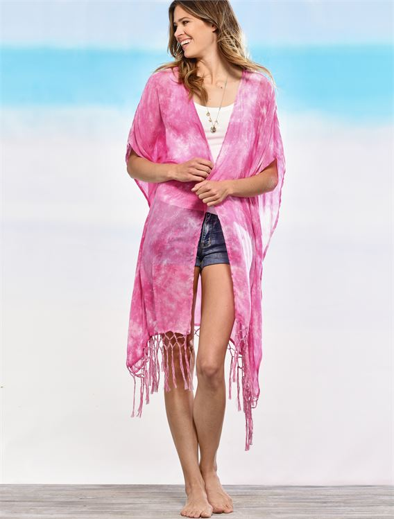 CHARLIE PAIGE TIE-DYED FRINGE CAPE IN HOT PINK