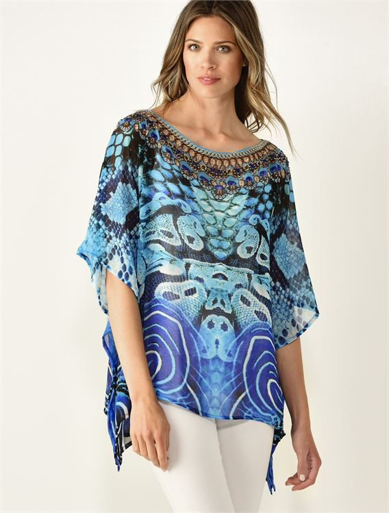CHARLIE PAIGE PRINTED COVER UP OVERPIECE IN BLUE