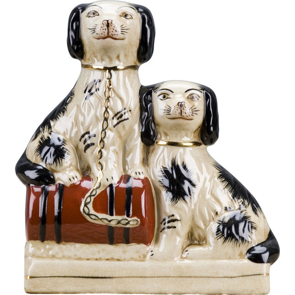 Staffordshire Reproduction King Charles Spaniel Dog Duo Figurine