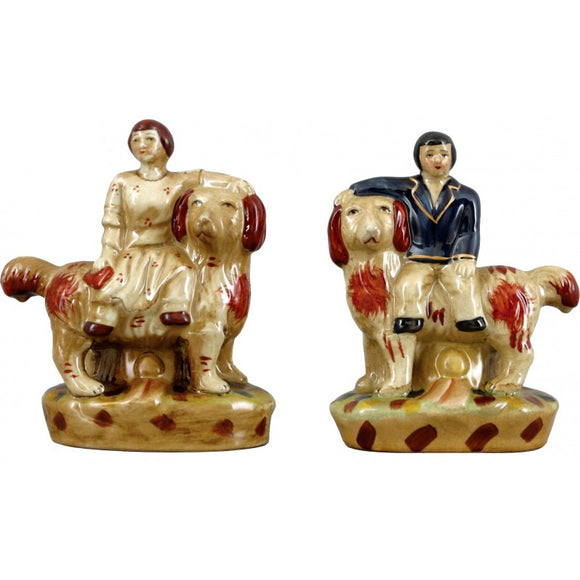 *New* Staffordshire Reproduction Lion Dogs With Man & Woman Figurines Set of 2