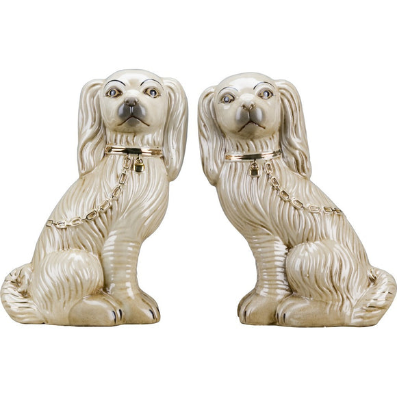*NEW* Staffordshire Reproduction Large Dog Pair In Antique Cream With Gold Chain Accent Figurines Set of 2
