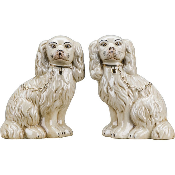 *NEW* Staffordshire Reproduction Dog Pair In Antique Cream With Gold Chain Accent Figurines