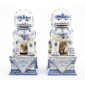 *New* Staffordshire Reproduction Blue And White Lucky Foo Dog Statues, Set of 2