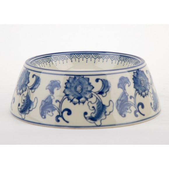 *New* Staffordshire Reproduction Blue And White Non-Tip Dog/Cat Bowl