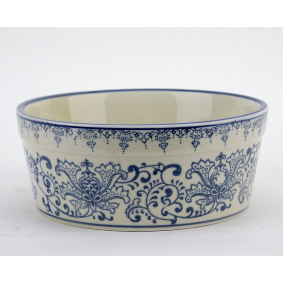 *New* Staffordshire Reproduction Blue And White Large Size Dog Bowl