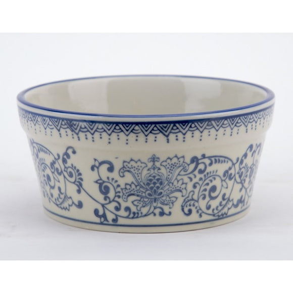 *New* Staffordshire Reproduction Blue And White Medium Size Dog Bowl