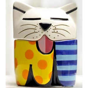 ROMERO BRITTO CERAMIC KITTY CAT SALT & PEPPER SHAKER