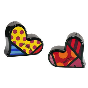 ROMERO BRITTO CERAMIC HEART SHAPED SALT AND PEPPER SHAKERS