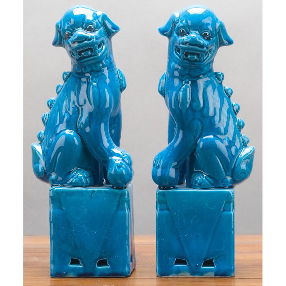 Turquoise Pair Of Foo Dog Figurines