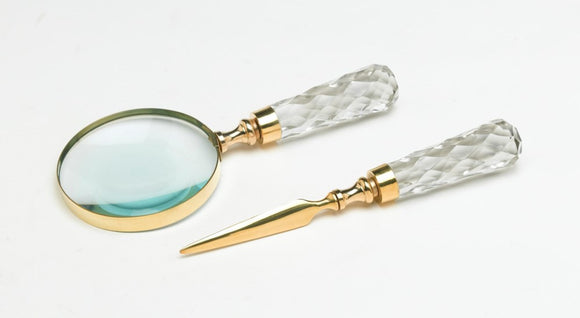 BRASS MAGNIFYING GLASS & LETTER OPENER