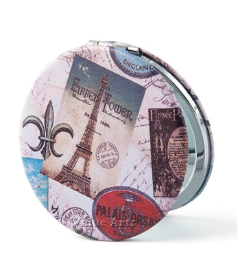 VINTAGE EIFFEL TOWER ROUND TRAVEL MIRROR