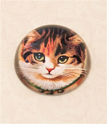 VINTAGE KITTEN CRYSTAL DOME PAPERWEIGHT
