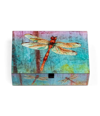 COLORFUL RED DRAGONFLY KEEPSAKE BOX