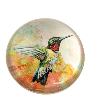 CRYSTAL GLASS DOME HUMMING BIRD PAPERWEIGHT/PAPER WEIGHT