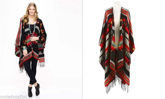 Charlie Paige Red & Black Colored Aztec Shawl/Wrap/Cape
