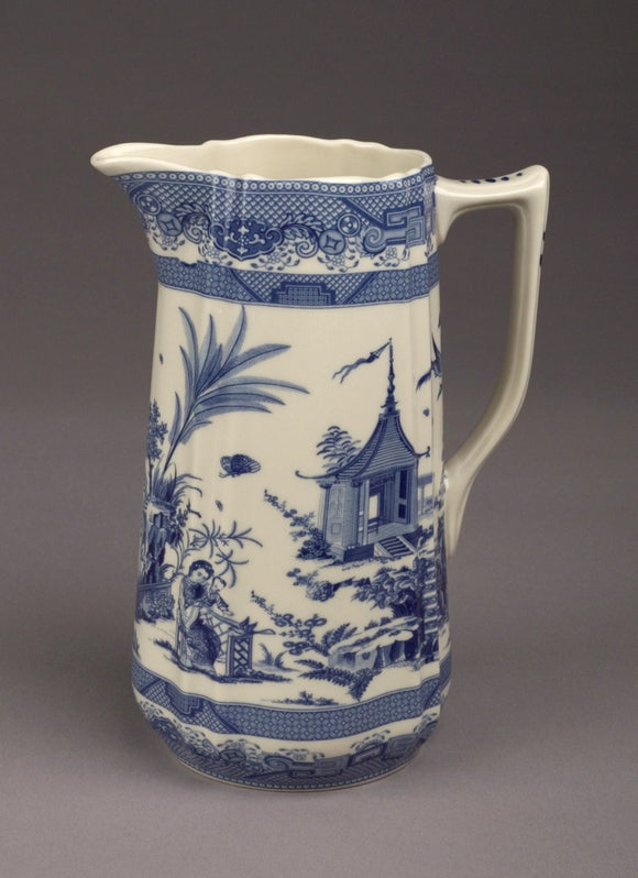 BLUE & WHITE ORIENTAL SCENE PITCHER