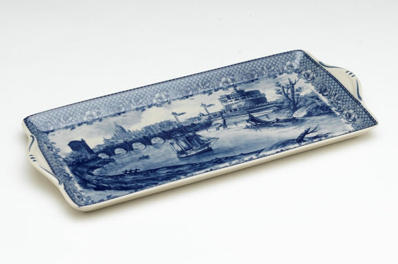 BLUE & WHITE CANAL SCENE LONG TRAY