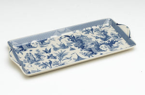 BLUE & WHITE GARDEN SCENE LONG TRAY