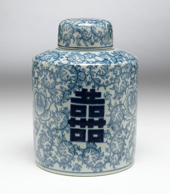 BLUE & WHITE VINE DESIGN JAR WITH LID
