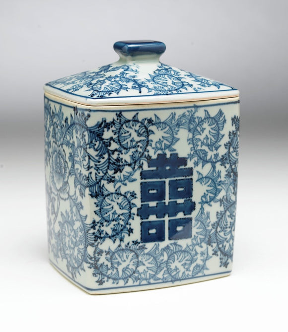BLUE & WHITE VINE DESIGN RECTANGLE SHAPED JAR WITH LID