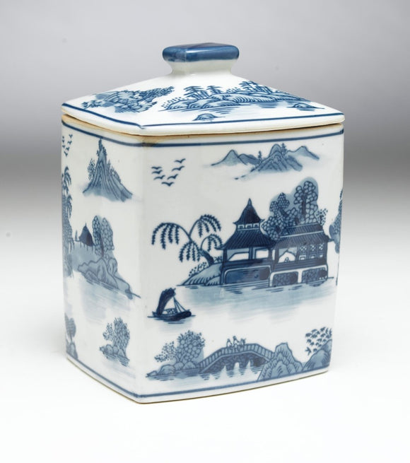 BLUE & WHITE RIVER SCENE RECTANGLE JAR WITH LID