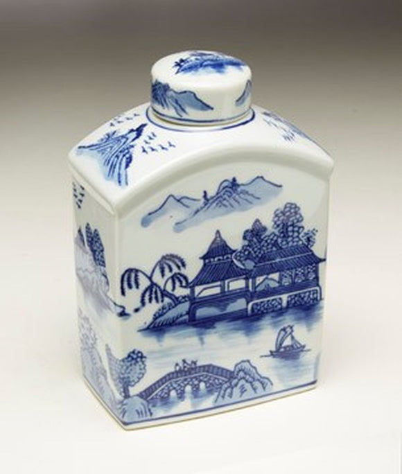 BLUE & WHITE JAR WITH LID