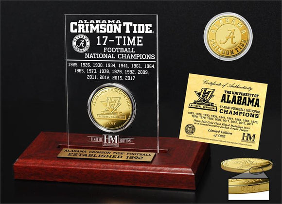 Alabama Crimson Tide 17-TIme National Champions Gold Coin Etched Acrylic