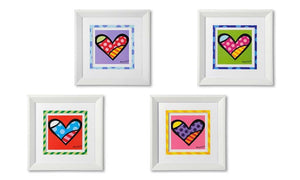 ROMERO BRITTO SET OF 4 WHITE FRAMED ASSORTED HEARTS WALL ART