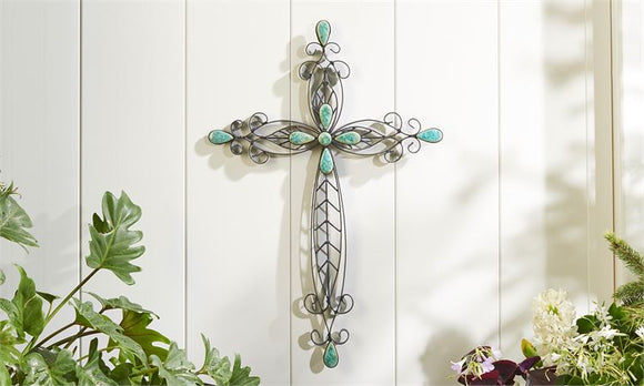 Sculpted Iron Wall Cross With Turquoise Bead Detailing