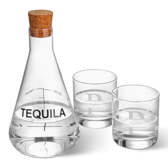 Tequila Decanter in Wood Crate with Stamped Design Monogrammed Set of 2 Low Ball Glasses