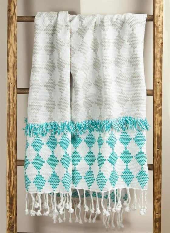 HARLEQUIN COTTON EMBROIDERED THROW