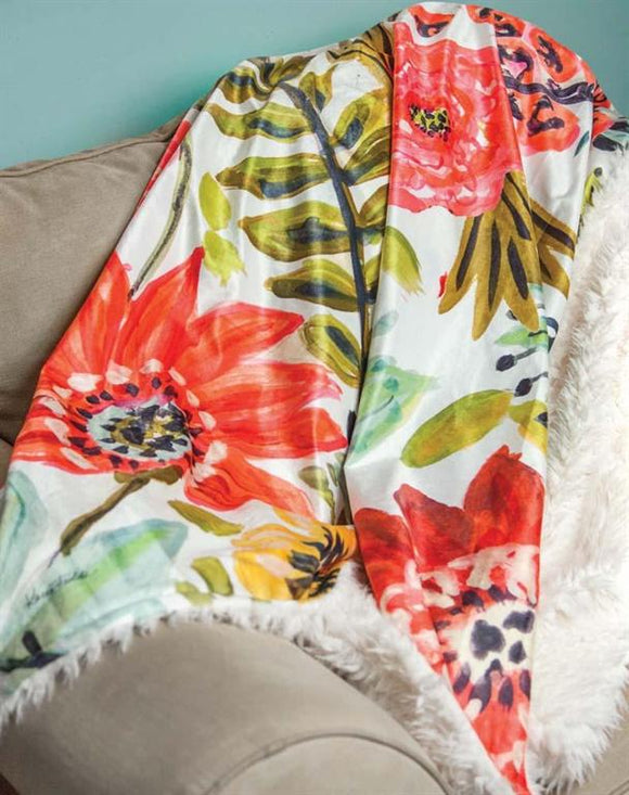 MULTI BLOOM FLORAL FUR BACKED FLEECE BLANKET