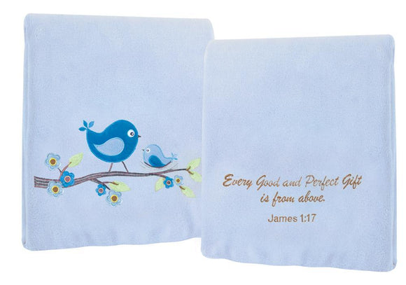 EVERY GOOD GIFT FLEECE THROW IN BLUE