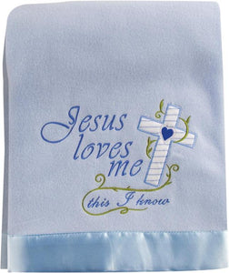 JESUS LOVES ME FLEECE THROW IN BLUE