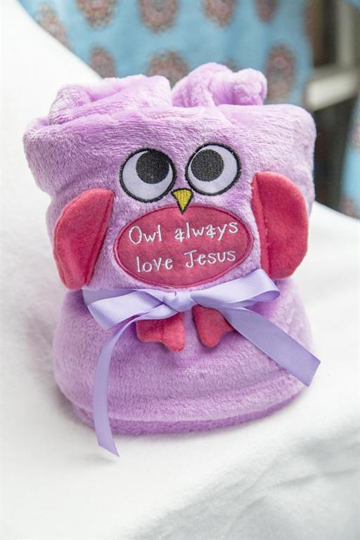 OWL FLEECE ROLL UP BLANKET