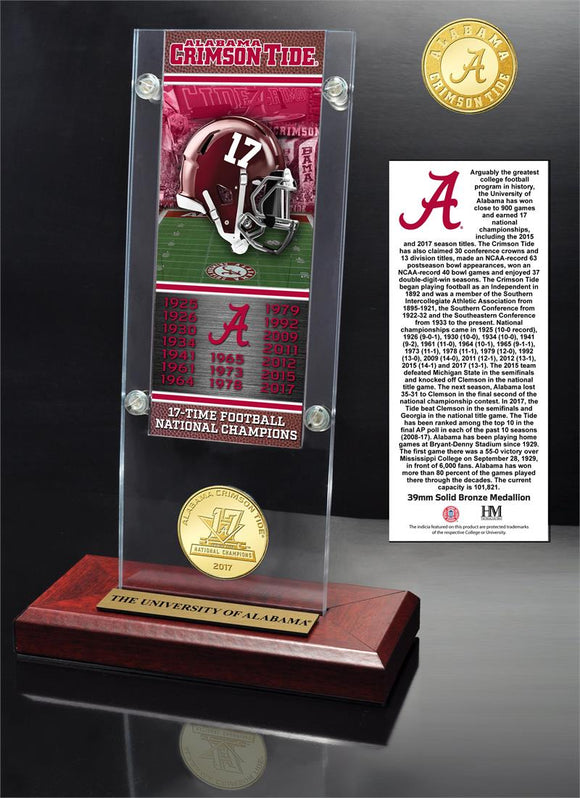 Alabama Crimson Tide 17-TIme National Champions Ticket & Bronze Coin Acrylic Desk Top