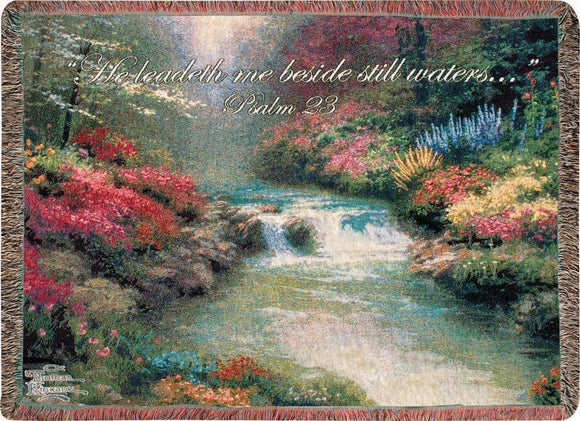 BESIDE STILL WATERS- THOMAS KINKADE TAPESTRY THROW