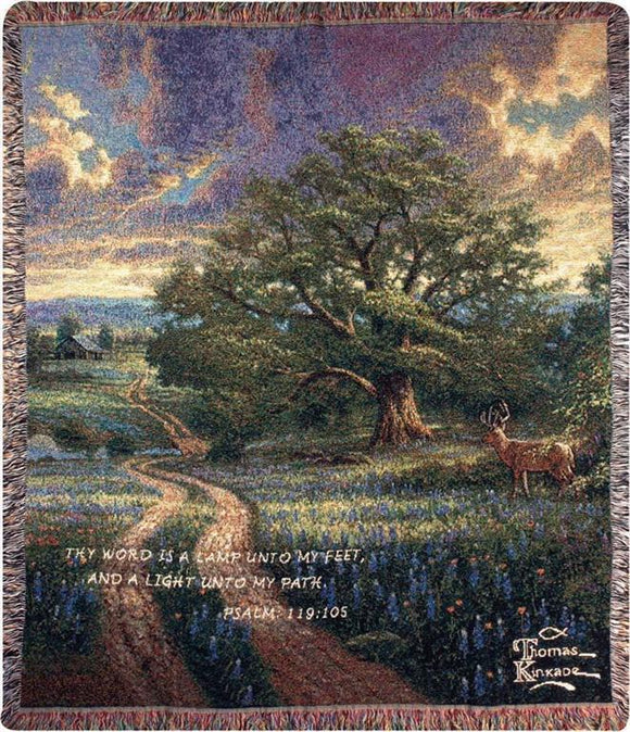 COUNTRY LIVING WITH VERSE- THOMAS KINKADE TAPESTRY THROW