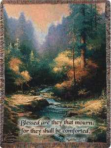 CREEKSIDE TRAIL WITH VERSE- THOMAS KINKADE TAPESTRY THROW