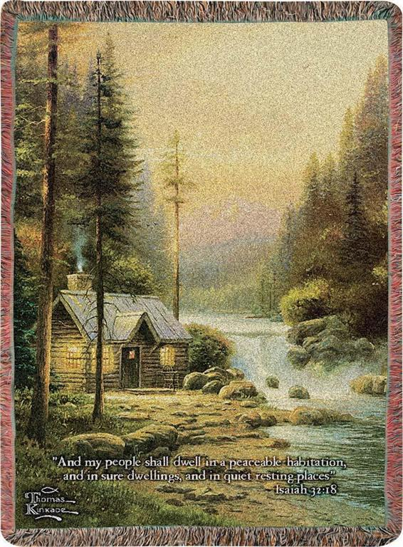 EVENING IN FOREST- THOMAS KINKADE TAPESTRY THROW
