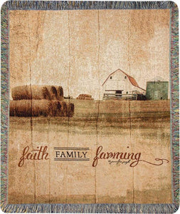 FAITH FAMILY FARMING TAPESTRY THROW