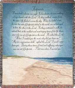 FOOTPRINTS IN THE SAND TAPESTRY THROW