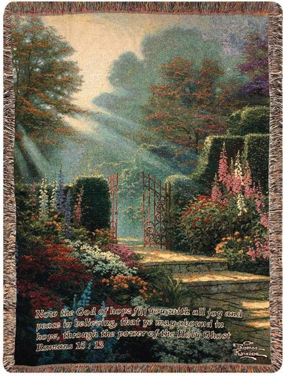 GARDEN OF GRACE WITH VERSE- THOMAS KINKADE TAPESTRY THROW