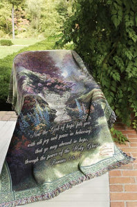 THE GARDEN OF HOPE WITH VERSE- THOMAS KINKADE TAPESTRY THROW