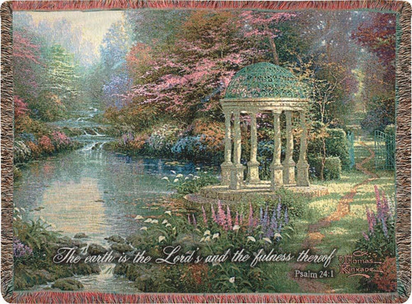 GARDEN OF PROM WITH VERSE- THOMAS KINKADE TAPESTRY THROW