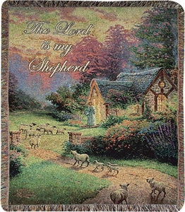 GOOD SHEPHERD'S COTTAGE- THOMAS KINKADE TAPESTRY THROW