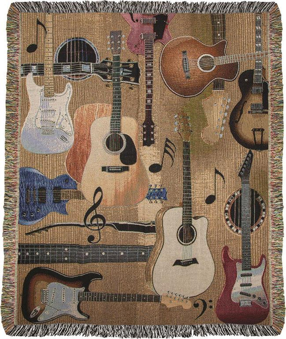 *NEW* GUITAR COLLAGE TAPESTRY THROW