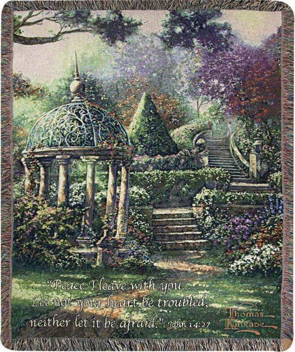 GAZEBO OF PRAYER- THOMAS KINKADE TAPESTRY THROW