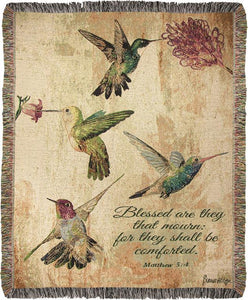 *New* Hummingbird Floral With Verse Tapestry Throw