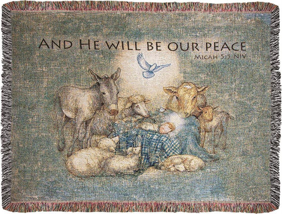 *NEW* HE WILL BE OUR PEACE TAPESTRY THROW